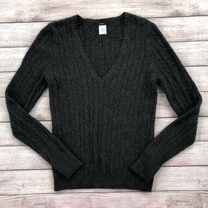 J Crew Gray Cable Knit Sweater Wool Cashmere Med